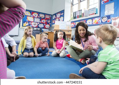 Group of nursery children sitting on the floor in their classroom. The teacher is reading from a book.