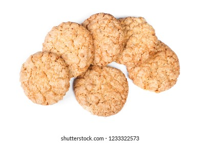 Group of oatmeal cookies isolated on white background