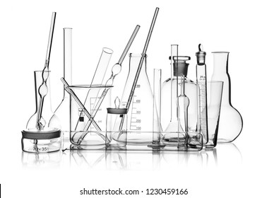 group object of laboratory limpid glassware, horizontal photo, on white background, isolated