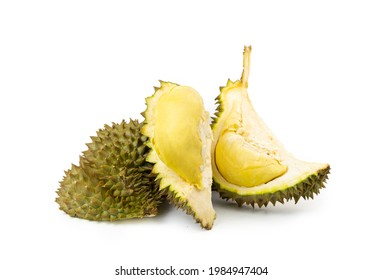 Group od Durian with unshelled sees the durian meat on white background. Durian is the king of fruit and the most famous of fruit.