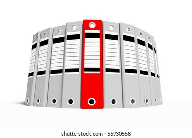 Group office folder gray and red on a white background