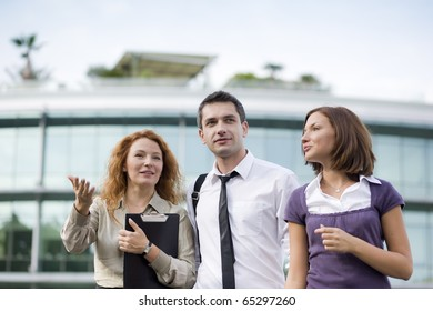 Group of office workers stay outdoor