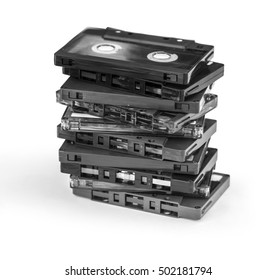 group of Old cassette tapes on white background with clipping path