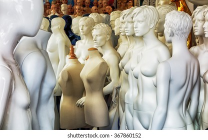 group of old mannequins