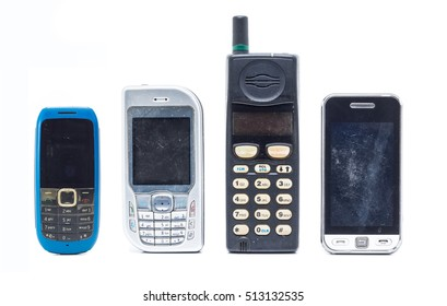 group of old and obsolete mobile phone on white background