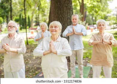 Group of old people practicing qigong outdoors stock photo