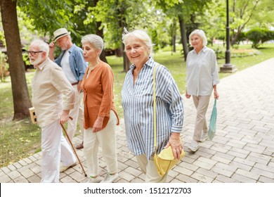 Group of old people strolling through the park and smiling stock photo