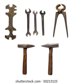 Group of old  tools, isolated on white background