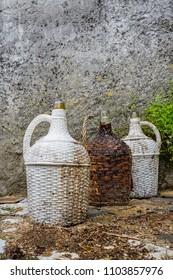 group of old wine bottles