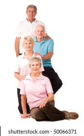 Group of older mature friends relaxing after exercise at the gym