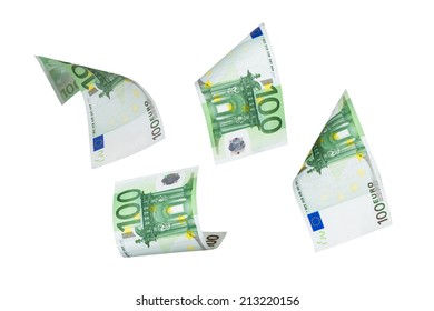 Group of one hundred euro money banknotes flying, isolated on white background.