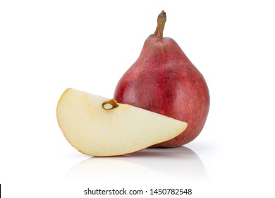 Group of one whole one slice of fresh dark red pear anjou isolated on white background