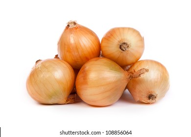 Group of a onions, isolated against white background