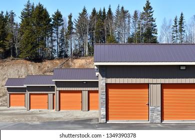 Group of Orange Door Storage Units