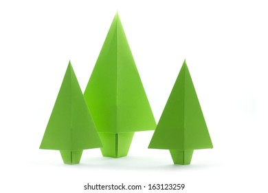 group origami colorful paper christmas trees isolated on white