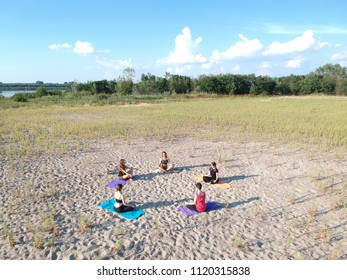 group outdoor yoga class