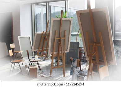 Group of painting canvas exposed in an artist's studio - art and object concept..