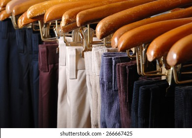 Group of Pants and trousers at retail shop