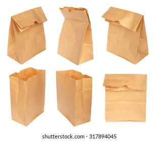 Group of paper bag isolated on white background.