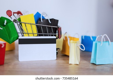 group of a paper shopping bag on a shopping cart