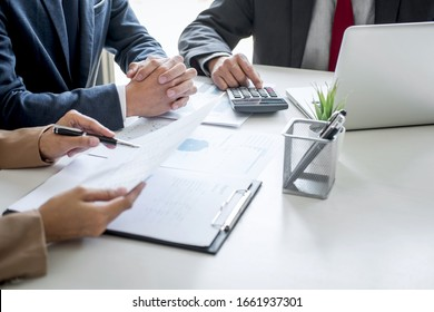 Group of partner working conversation, Business team meeting present with investor colleagues discussing plan financial graph data and analyzing strategy to growth up to profit into company.
