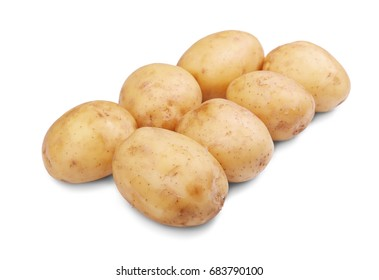 A group of peeled fresh potatoes isolated over the white background. Healthful and natural uncooked potatoes for tasteful homemade meals. Farming, gardening and harvest concept.