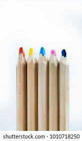 A group of pencil crayons against a white isolated background.