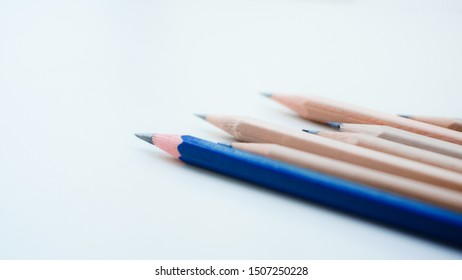 Group of pencil on white space.Creating concept.
