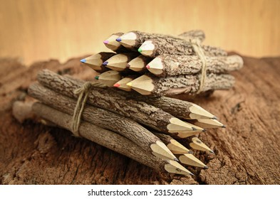 group of pencil on wooden background