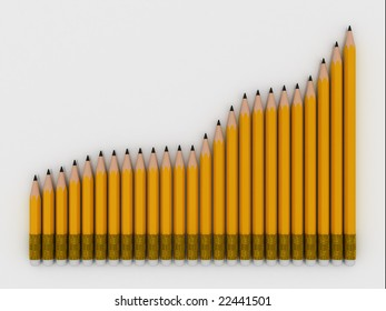 group of pencils over white background