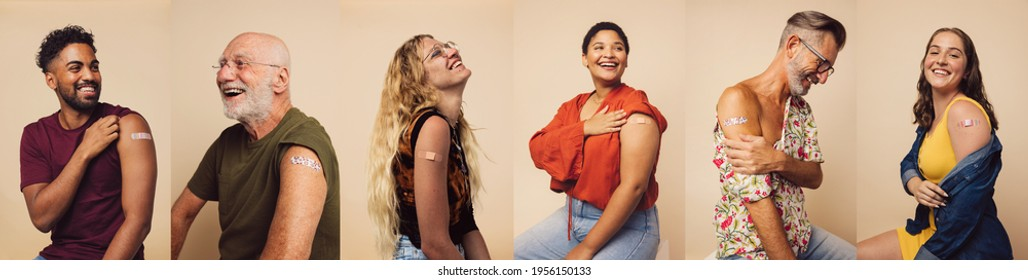 Group of people after getting the covid-19 vaccine, composite shot. Diverse group of men and women with band-aids on arm after receiving immunity vaccine.