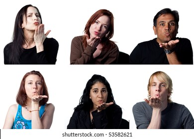 Group of people blowing a kiss to the camera