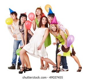 Group of people celebrate birthday. Isolated.