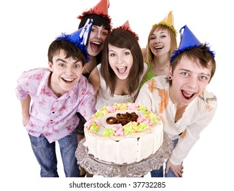 Group of people celebrate happy birthday with cake. Isolated.