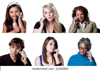 Group of people chatting on a cell phone