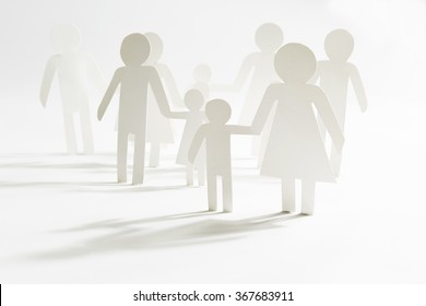 Group of people with children, paper figures