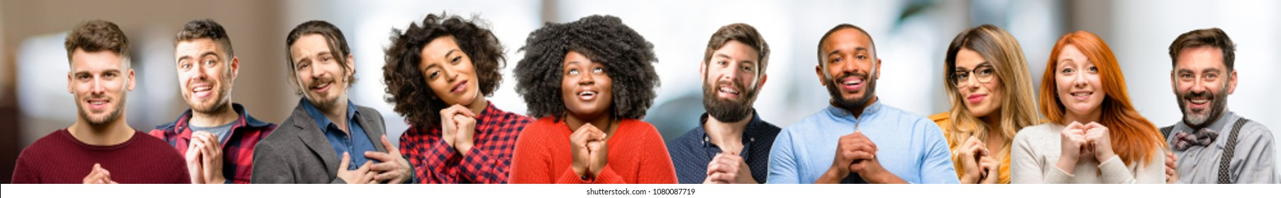 Group of people confident and happy with a big natural smile in love - Shutterstock ID 1080087719