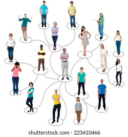 Group of people connected in social network, over white