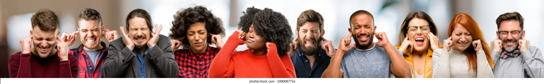 Group of people covering ears ignoring annoying loud noise, plugs ears to avoid hearing sound. Noisy music is a problem.