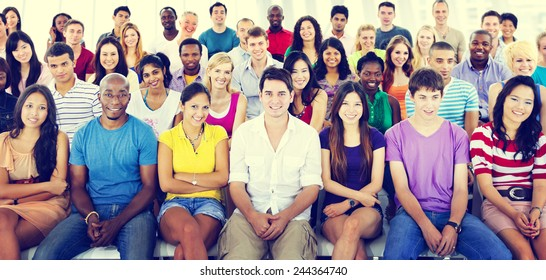 Group People Crowd Audience Casual Multicolored Sitting Concept