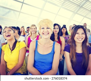 Group People Crowd Audience Casual Multicolored Laughing Concept