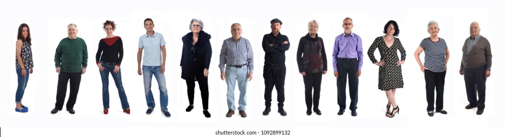 group of people of different ages on white background