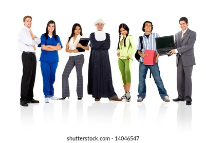 group of people in different occupations and professions standing isolated over a white background