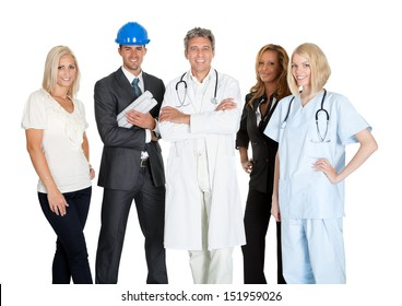 Group of people in different occupations and professions over white background