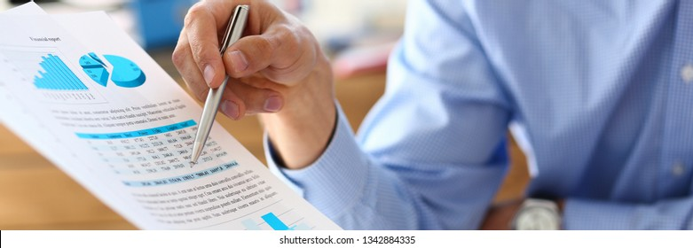 Group of people discuss financial results at workplace closeup. Training course mediation offer income profit review finance investment loan audit secretary job desk talk pad arm concept