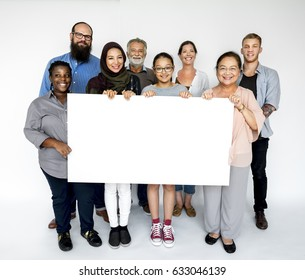 Group of people diversity with empty board advertising