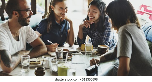 Group Of People Drinking Coffee Concept