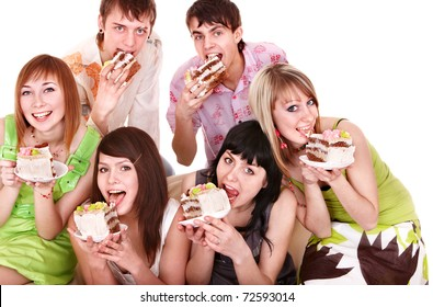 Group people eat cake. Isolated.