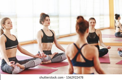 a group of people engaged in yoga class meditate in Lotus position