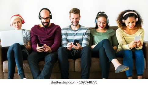 Group of people enjoying music streaming